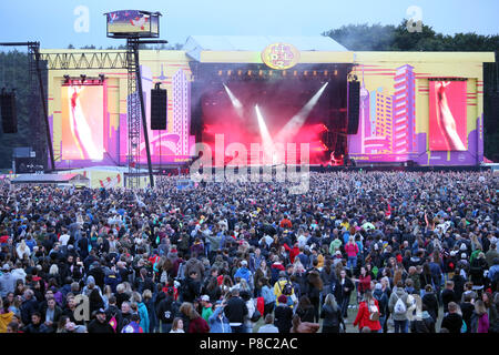 Hoppegarten, crowd at Lollapalooza Berlin 2017 at the racecourse Hoppegarten - Stock Photo