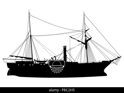 Steamship. Silhouette of a paddle steamer on a white background.Side view. Flat vector. - Stock Photo