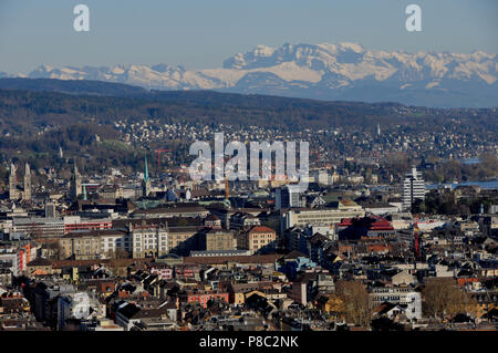 Panoramic view of Zürich-City (ETH, University Hospital, old town)  from Switzerlands second highest skyscraper 'Swiss Prime Tower' - Stock Photo