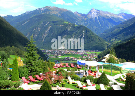The panoramic mountain view from Stock Hotel in Finkenberg above Mayrhofen in the Zillertal valley - Stock Photo