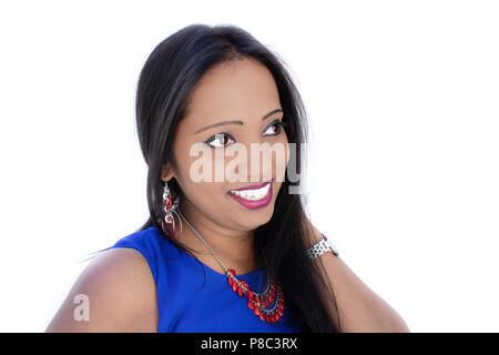 Beautiful Indian woman, smiling face portrait on white is looking at side - Stock Photo