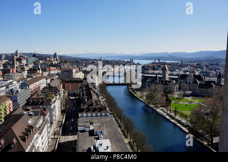 Switzerland: Panoramic view over the Limmat-River and Zürich City from Mariott Hotel - Stock Photo
