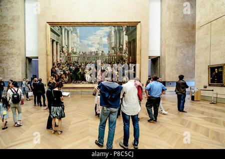 Inside Louvre Museum in Paris, France. - Stock Photo