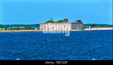 Fort Rodman Old Stone Civil War Fort Entrance New Bedford Harbor Buzards Bay New Bedford Massachusetts United States. Erected just before the Civil Wa - Stock Photo