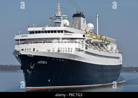 World's oldest still serving cruiseship Astoria in the Kiel canal - Stock Photo