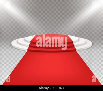 3D isolated three stepped round white podium with red carpet. - Stock Photo