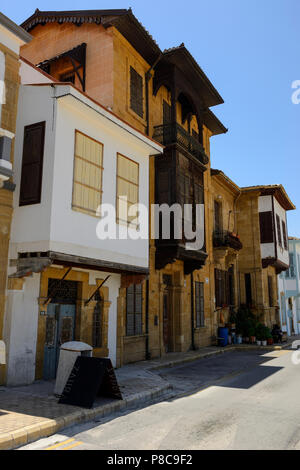 Renovated traditional houses in the Arabahmet District of North Nicosia (Lefkosa), Turkish Republic of Northern Cyprus - Stock Photo