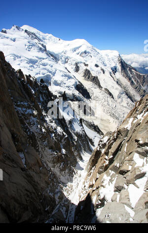 Even during summer ice and snow is omnipresent on the Mont Blanc in France - Stock Photo