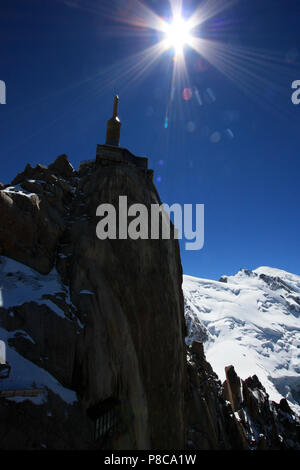 The observation complex on top of the Aiguille-du-Midi in the Mont Blanc massif in France - Stock Photo