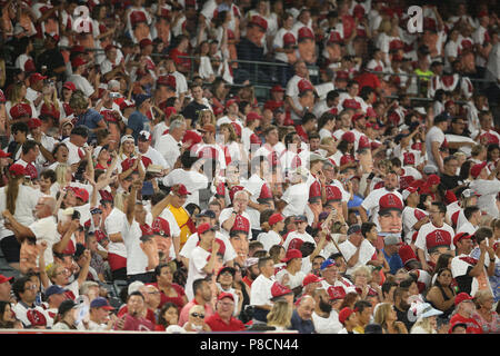 Anaheim, USA. July 10, 2018: Fans wear Mike Trout giveaway shirts in the game between the Seattle Mariners and Los Angeles Angels of Anaheim, Angel Stadium in Anaheim, CA, Photographer: Peter Joneleit Credit: Cal Sport Media/Alamy Live News - Stock Photo