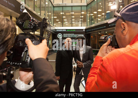 London, UK. 11th July 2018. Nile Rodgers and business manager Merck Mercuriadis attended the London Stock Exchange today to float their company Hipgnosis Songs. Rodgers is an Advisory Board Member and Mercuriadis is the CEO and Founder. Credit: Anna Watson/Alamy Live News - Stock Photo