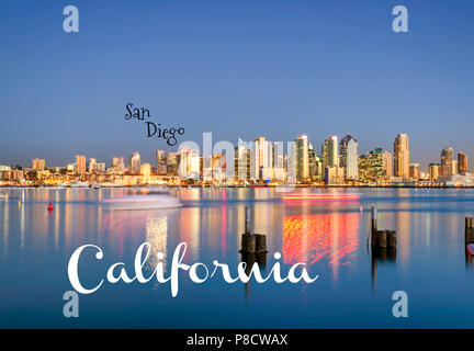 Travel Concept. Photograph of  San Diego Harbor and Skyline. San Diego, California, USA - Stock Photo