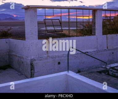 Dawn, Pool Wall, Zzyzx Mineral Springs, Mojave National Preserve CA - Stock Photo