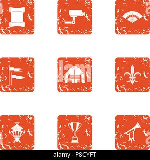 Supervision icons set, grunge style - Stock Photo