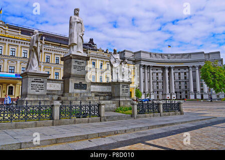 Monuments to St. Andrew the First-Called, Princess Olga, the clear Cyril and Methodius near the building of the Ministry of Foreign Affairs of Ukraine - Stock Photo