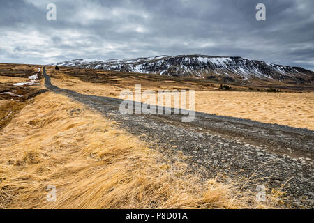 Gravel road in Iceland, near Golden circle, nature landscape - Stock Photo