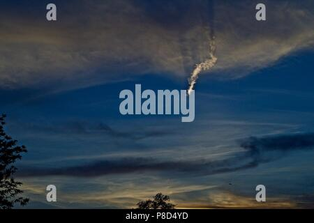 Sunset and Clouds over Canyon, Texas - Stock Photo