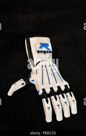 3-D printed prosthetic hand produced and on display at the CES (Consumer Electronics Show) from Robo 3D exhibit booth, Las Vegas, Nevada, USA - Stock Photo