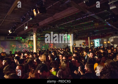 London UK 4th March 2018 People listen to live music and dance at the clf art cafe,s South London Soul Train in Peckham, South London. - Stock Photo