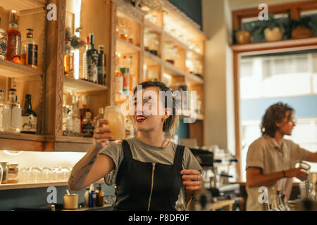 Smiling young female bartender making cocktails in a bar  - Stock Photo