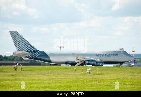 SHEREMETYEVO, MOSCOW REGION, RUSSIA - June 28, 2017:  Boeing 747-400F of Sky Gates Airlines at Sheremetyevo International Airport. - Stock Photo