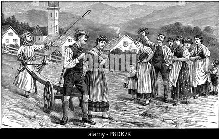 Wedding ploughing ceremony in Styria. Museum: PRIVATE COLLECTION. - Stock Photo