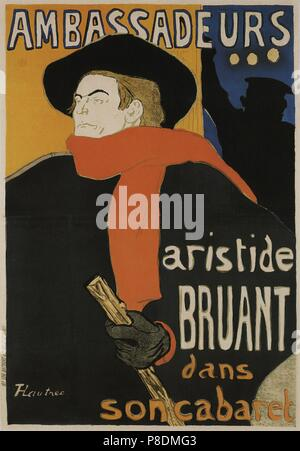 Aristide Bruant in Ambassadeurs (Poster). Museum: State A. Pushkin Museum of Fine Arts, Moscow. - Stock Photo