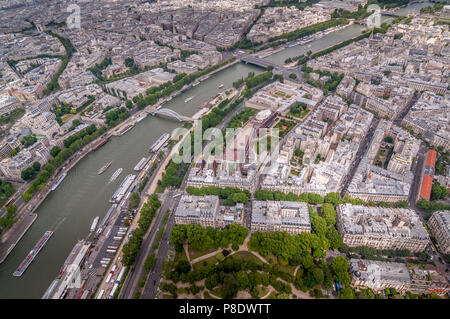 View of Paris from top of Eiffel Tower. - Stock Photo