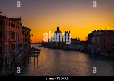 Santa Maria della Salute church at dawn in Venice, Italy - Stock Photo