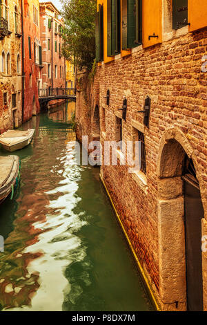 A quiet residential canal in Venice, Italy - Stock Photo