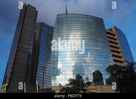 MILAN, ITALY-MAY 12, 2018: Maire Tecnimont skyscraper tower in Porta Garibaldi area, Milan, Lombardy. - - Stock Photo