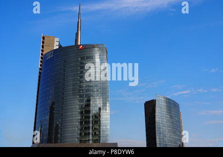 MILAN, ITALY-MAY 12, 2018: Maire Tecnimont skyscraper tower in Porta Garibaldi area, Milan, Lombardy. - - Stock Photo