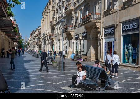 Pedestrians on Nizami Street in baku,Azerbaijan - Stock Photo