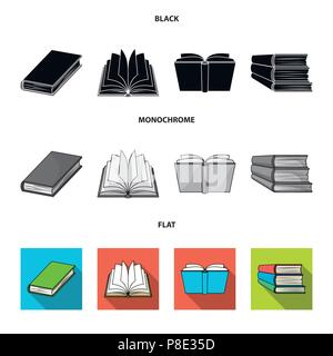 Various kinds of books. Books set collection icons in black, flat, monochrome style vector symbol stock illustration . - Stock Photo
