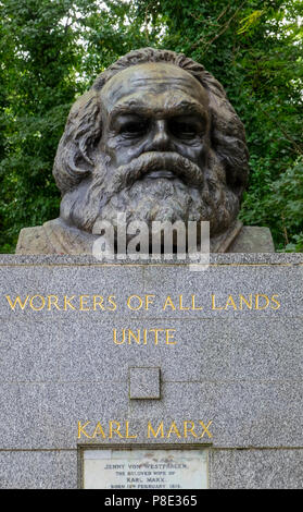 Karl Marx grave in Highgate Cemetery, London. - Stock Photo