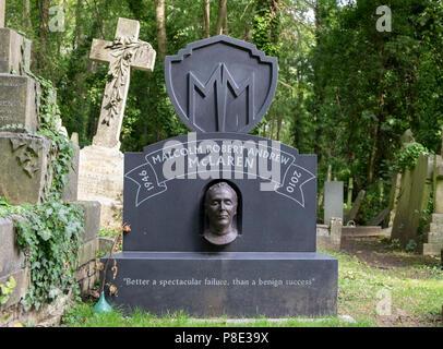 Malcolm McLaren grave in Highgate Cemetery, London. - Stock Photo