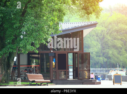 cozy cafe in the center of the city Park - Stock Photo