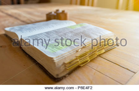Old aged leather bound bible - Stock Photo