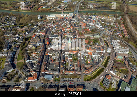 Aerial view, Old town, inner city ring road with southern moat, western wall and eastern moat, old town hall with Dorsten market - Stock Photo
