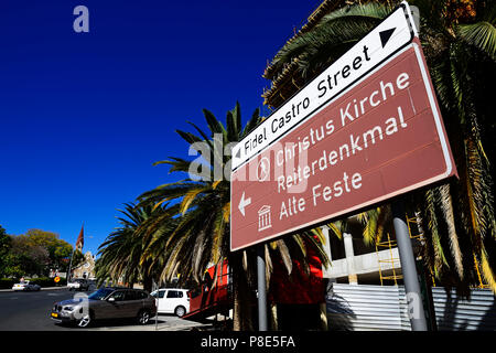 Sign Christ Church and Fidel Castro street with a view of the church, Windhoek, Namibia - Stock Photo