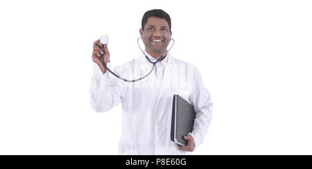 closeup.portrait of a smiling therapist .isolated on a white - Stock Photo