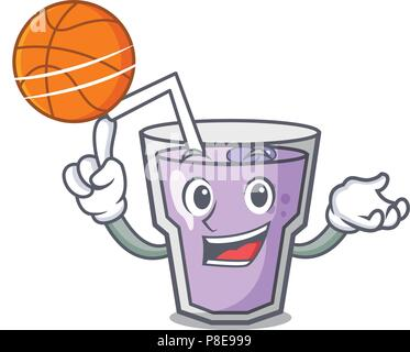 With basketball berry smoothie character cartoon - Stock Photo