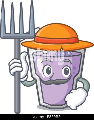 Farmer berry smoothie character cartoon - Stock Photo