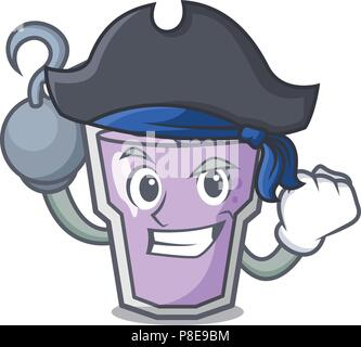 Pirate berry smoothie character cartoon - Stock Photo