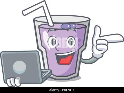 With laptop berry smoothie character cartoon - Stock Photo