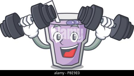 Fitness berry smoothie character cartoon - Stock Photo