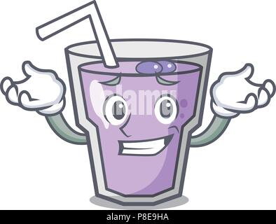 Grinning berry smoothie character cartoon - Stock Photo