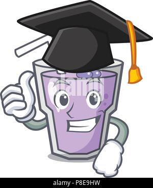 Graduation berry smoothie character cartoon - Stock Photo