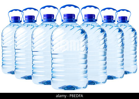 big bottle transparent plastic, clipping path, disposable container on white background isolated, Five liters, 5 - Stock Photo