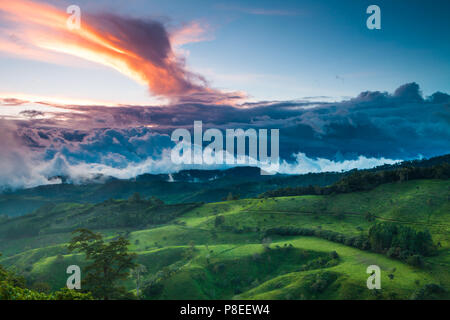 Amazing colorful sunset in the western highlands near the town Volcan, Chiriqui province, Republic of Panama. - Stock Photo